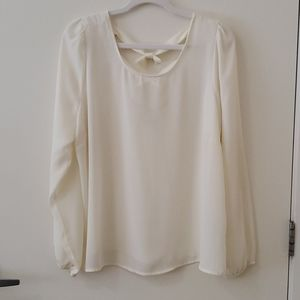 Forever 21 1X cream blouse cuffed sleeves